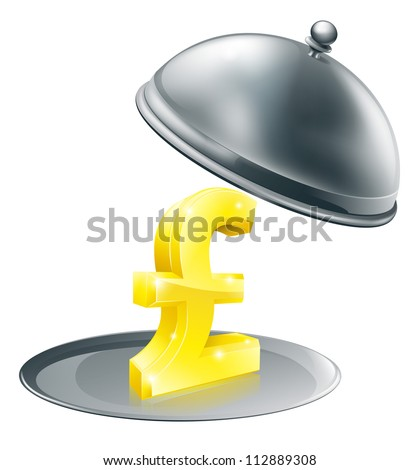 A Pound sign on silver platter. Conceptual illustration for money making opportunity or perhaps to do with expensive dinning