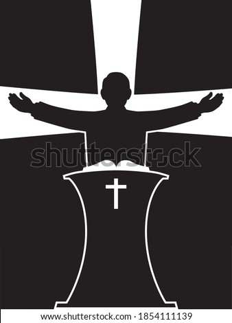 A preacher in silhouette is standing at his pulpit with his arms outspread Stock fotó ©