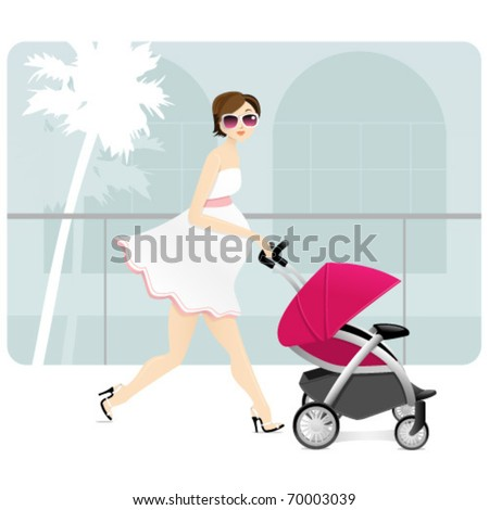 A pregnant mother with a stroller in a shopping mall.