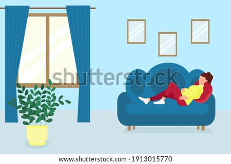 A pregnant woman lies on the couch in the room. Vector pregnant girl resting at home. Flat, concept. Foto d'archivio ©