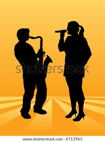 A pretty woman sings on an ethereal background along with a sax player