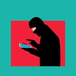 A professional fraudster uses a smartphone. The fraudster calls on a mobile phone. The concept of phone fraud, hacker attack, scam and cybercrime. Vector illustration in flat style isolated.
