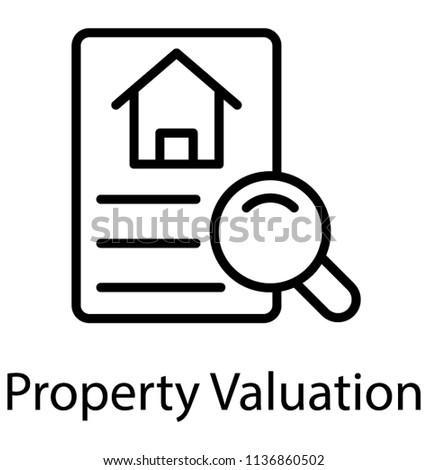 A property document embedded magnifier conceptual icon of Property valuation