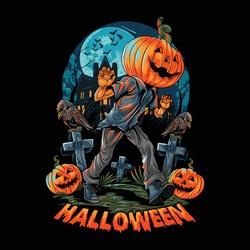 A pumpkin-headed human walks on a lonely and dark street near a haunted empty house. editable layers vector