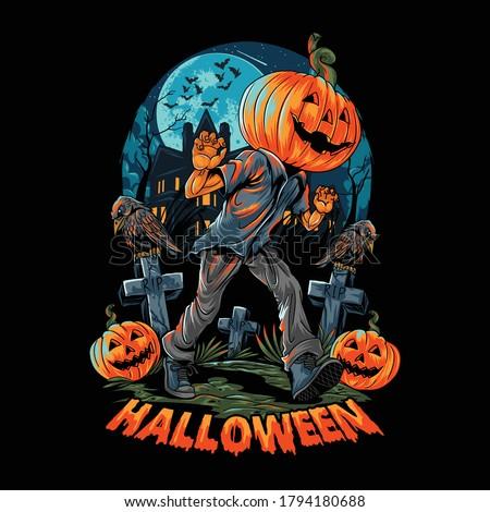 a pumpkin headed human walks on