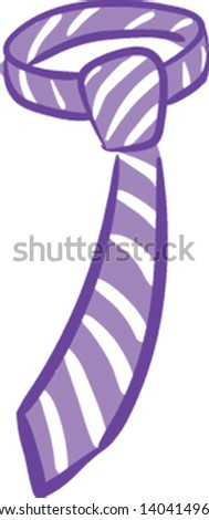 A purple and white necktie adorned with eye-catchy designs is perfect for men's business and special days set isolated white background viewed from the front, vector, color drawing or illustration.