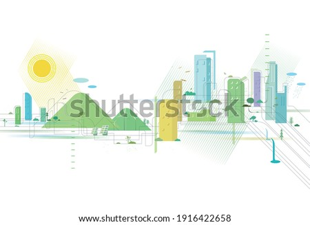 A Quality city is appearance with some elements of environmental protection vector illustrator graphic EPS 10