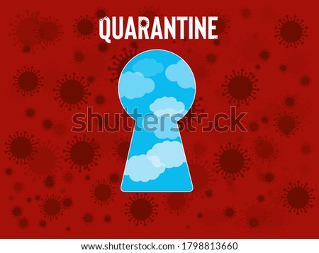 A  quarantine keyhole on covid-19 red background. Fly coronavirus banner with key text and wole. Zdjęcia stock ©