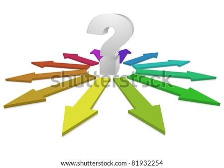 A question mark at the center of many colorful arrows representing different answers, eps8 vector