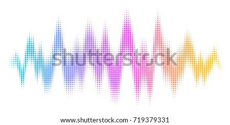 A rainbow-colored sound wave composed by round dots set against a white background
