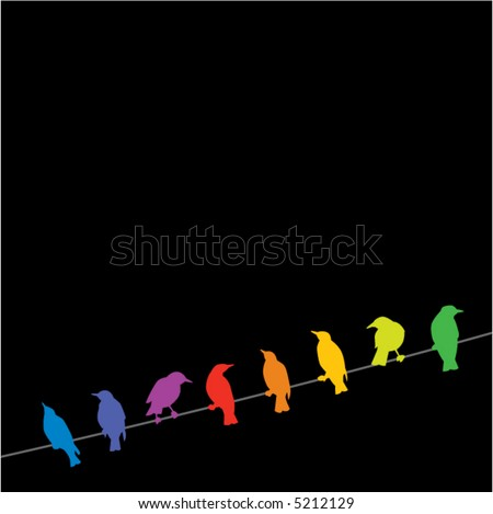 A rainbow of birds on a wire against a black background - stock vector