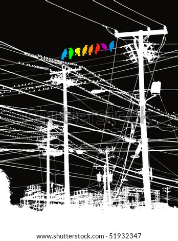 A rainbow of birds on a wire vector background