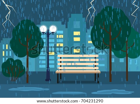 A rainy evening A rainy evening in a city park. concept of autumn. vector illustration