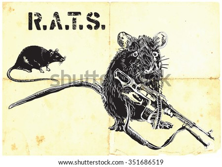 a rat  mouse with machine gun