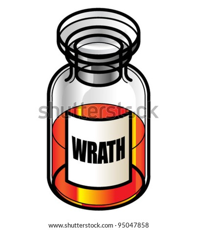 A reagent bottle of Wrath. Concept: Seven Deadly Sins. Collect the whole set!