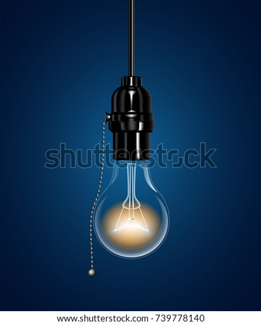 A realistic electric light bulb hanging from the ceiling. An Ebonite lamp holder with a chain switch. Vector illustration.