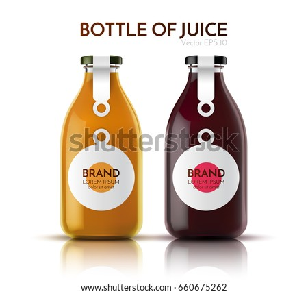 A realistic glass bottle of juice, drink, cocktail. Vector illustration.