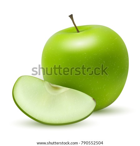A realistic granny smith or green apple with a leaf and reflection. Realistic 3d ripe, juicy, green apple and wedge with texture isolated on white background