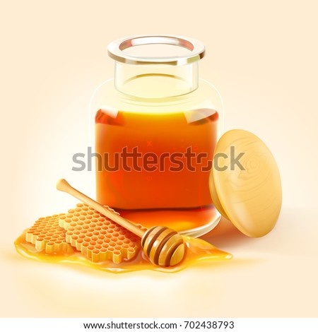 a realistic honey bee jar with honeycomb, a wooden dipper and a honey on the ground isolated on light cream background