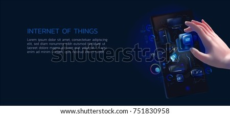 a realistic illustration of a man is holding an IoT system chip and installing them into the smartphone, a concept for the internet of things, application development, the smart home, smart life.