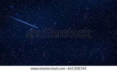 A realistic starry sky with a blue glow. Beautiful shooting star. The meteorite is falling. Shining stars in the dark sky. Background, wallpaper for your project. Vector illustration. EPS 10
