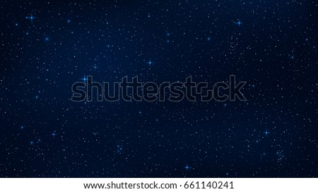 A realistic starry sky with a blue glow. Shining stars in the dark sky. Background, wallpaper for your project. Vector illustration. EPS 10