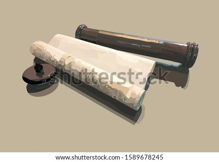 A realistic vector illustration of a scroll. Megillat Esther called on Purim. With its storage box Foto stock ©