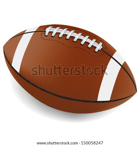 A realistic vector illustration of an American football on a white background. File contains transparencies and gradient mesh. EPS 10.