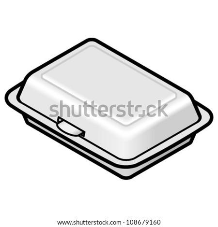 A rectangular styrofoam takeaway container.