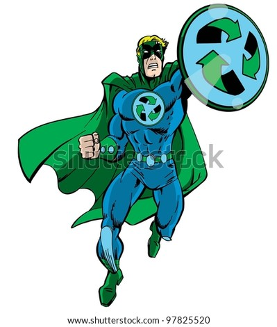 A recycle green superhero running with his recycle shield in hand