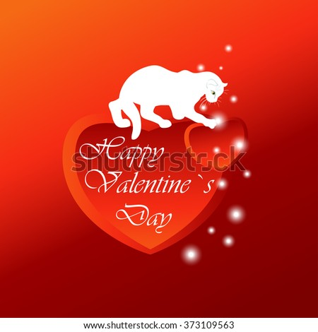 A red background with group of  hearts, white cat,lights  and text,design,postcard. #373109563
