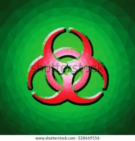 a red biohazard symbol against