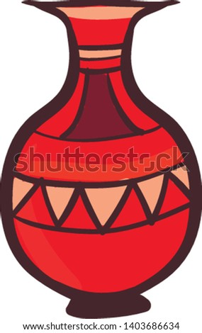 A red decorative vessel with eye-catchy designs has no handle, and displays cut flowers enhances the existing decor of any room in the home, vector, color drawing or illustration.