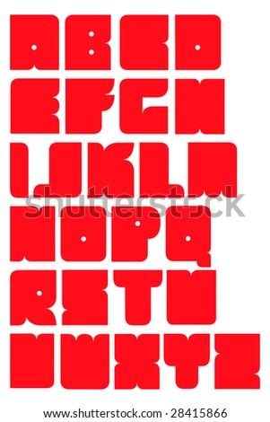A red funny and bold cartoon font or alphabet isolated - stock vector
