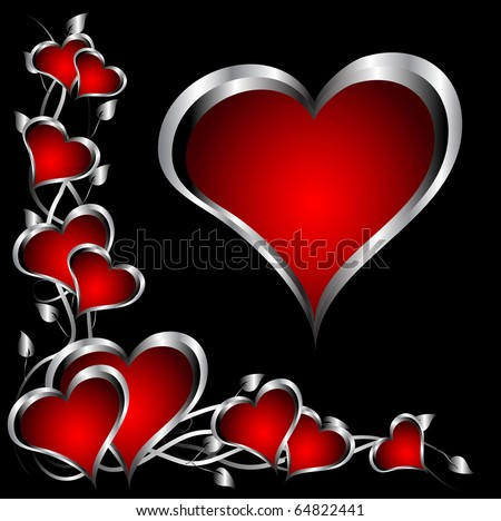 Valentines Hearts on Vector   A Red Hearts Valentines Day Background With Silver Hearts