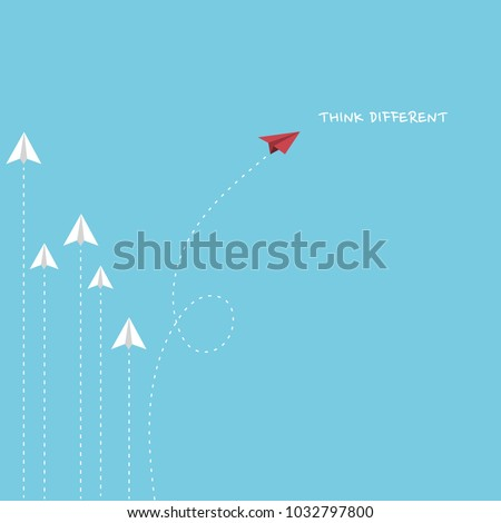 A red paper plane flying different way from white paper planes. Think different concept minimalist style.