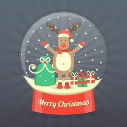 A reindeer with gift bag and gift boxes in snow globe on dark starburst background. vector.
