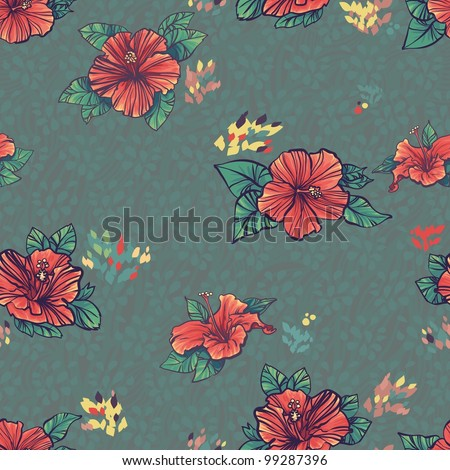 A repeating pattern of a hibiscus flower.