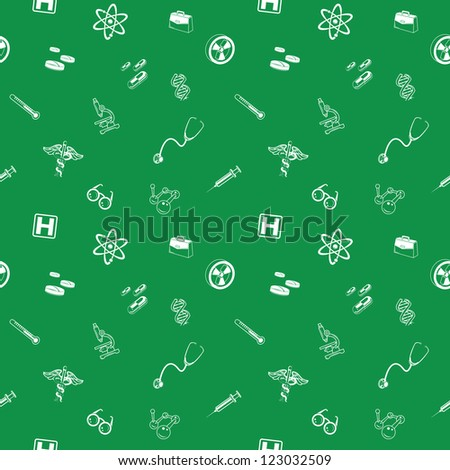 A repeating seamless medical and science background tile texture with lots of different medical and science icons