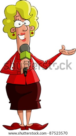 A reporter on a white background, vector illustration