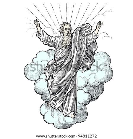 A Representation of God in the sky - vintage engraved illustration -