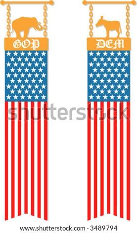 A Republican and Democrat American flag banner