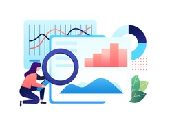 A Research and Analytics role is doing the job to make deep analysis for company report. He learn carefully for make best for she's job. Analyst people. Vector illustration with minimalism style