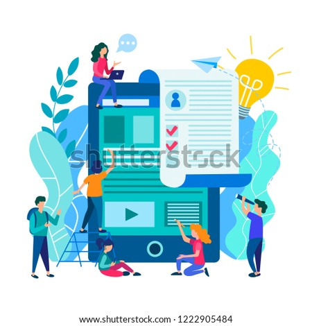A resume and complete the questionnaire online, online resume filling, online testing. Vector illustration.