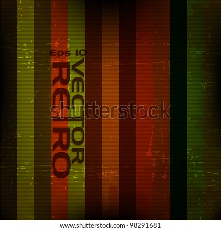 A retro grunge background  with colorful lines illustration.