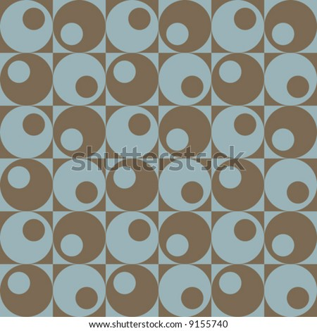 A retro, repeating vector pattern of circles in squares in blue and brown.