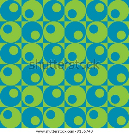 A retro, repeating vector pattern of circles in squares in blue and green.
