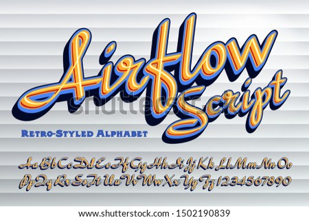 A retro styled vintage script alphabet. This lettering is influenced by 1940s and 1950s script fonts. Stock photo ©