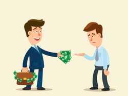 A rich businessman gives money to an unemployed beggar. A business man gives money to a poor man. Donation concept. Vector illustration, flat design cartoon style, isolated background.