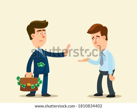 A rich businessman refuse to give money to a poor man. The boss does not give a bonus to worker. Homeless man asking for money. Vector illustration, flat design, cartoon style, isolated background. Photo stock ©